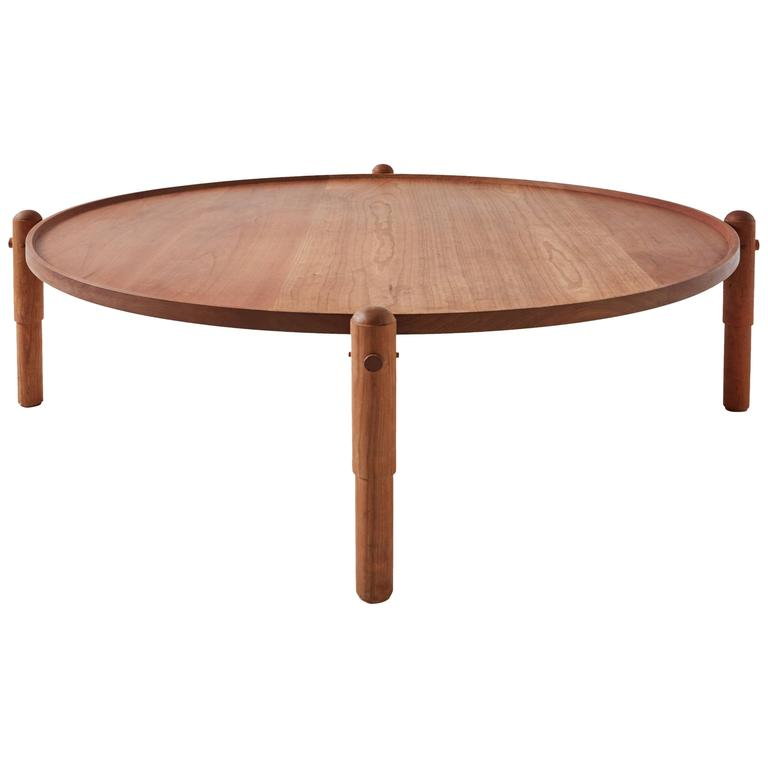 Workstead Coffee Table In Cherry With Turned Wooden Legs And Circular Tabletop At 1stdibs