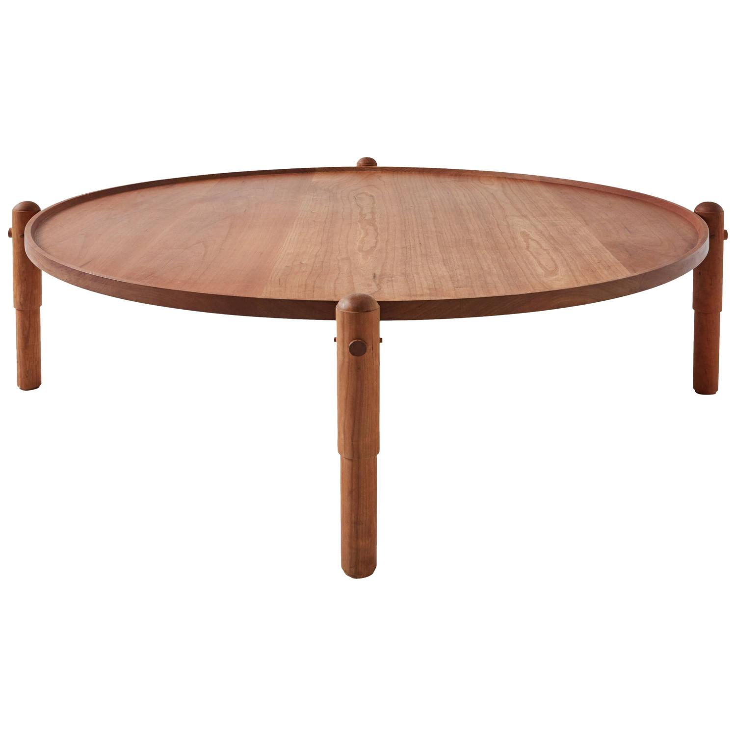Workstead Coffee Table In Cherry With Turned Wooden Legs And Circular Tabletop For Sale At 1stdibs