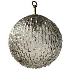 Mid-20th Century Design Single Light 'Blown Glass' Spherical Pendant