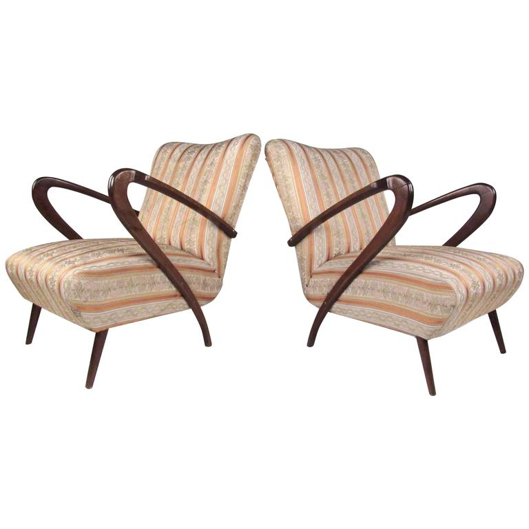 Pair of Italian Modern Gio Ponti Style Lounge Chairs, 1950s