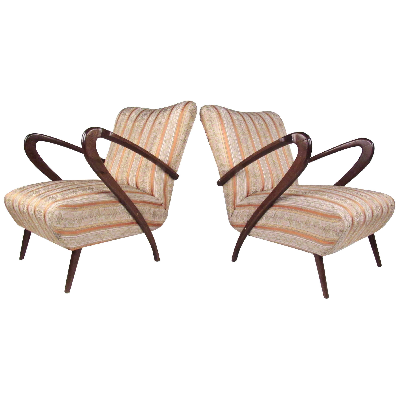 Pair of Italian Modern Gio Ponti Style Lounge Chairs, 1950s