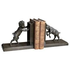 19th Century French Hand-Cast Bronze Pan and Goat Bookends by Garanti of Paris