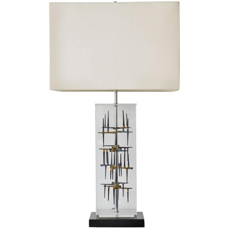 Lucite and Nail Brutalist Lamp by Laurel, circa 1970