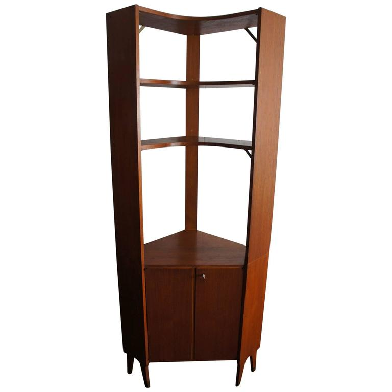 Mid Century Modern Scandinavian Design Corner Cabinet Bookcase Or Stereo For