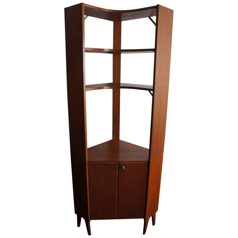 Mid-Century Modern Scandinavian Design Corner Cabinet Bookcase or Stereo Cabinet For Sale