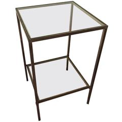 Mid-Century Modern Brass and Glass Side Table