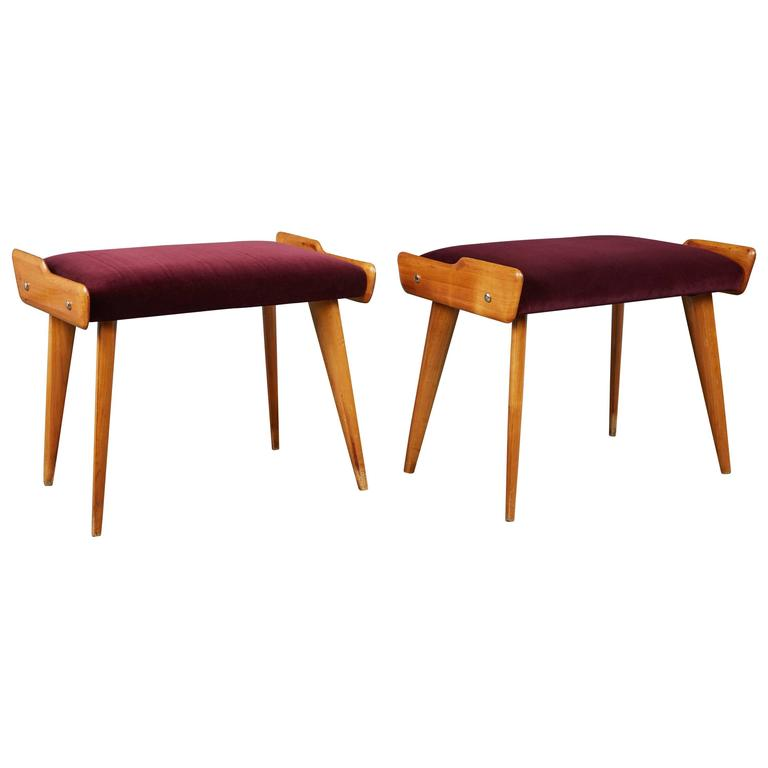 Unique Pair of Fruitwood Stools in the Style of Carlo di Carli