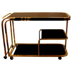 Expandable Brass Bar or Tea Cart by Milo Baughman for DIA