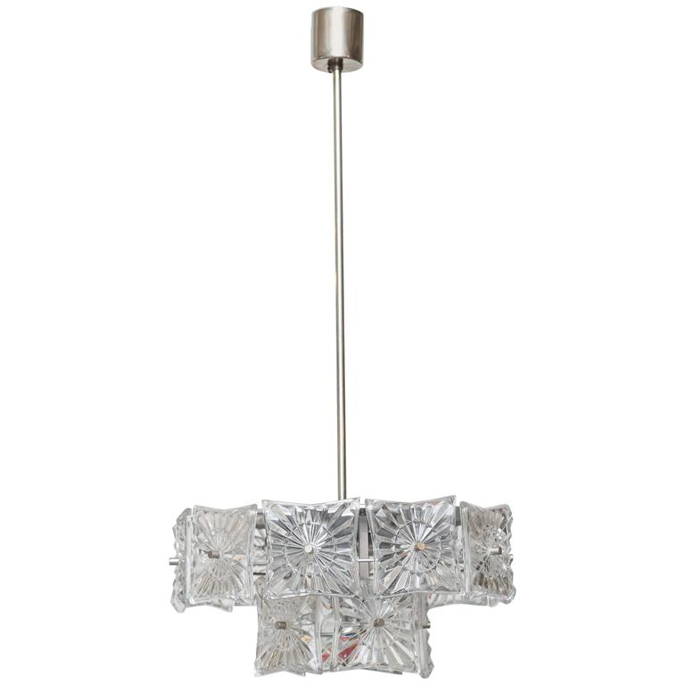 Carl Fagerlund Hanging Chrome and Crystal Pendant for Orrefors Mid 20th Century