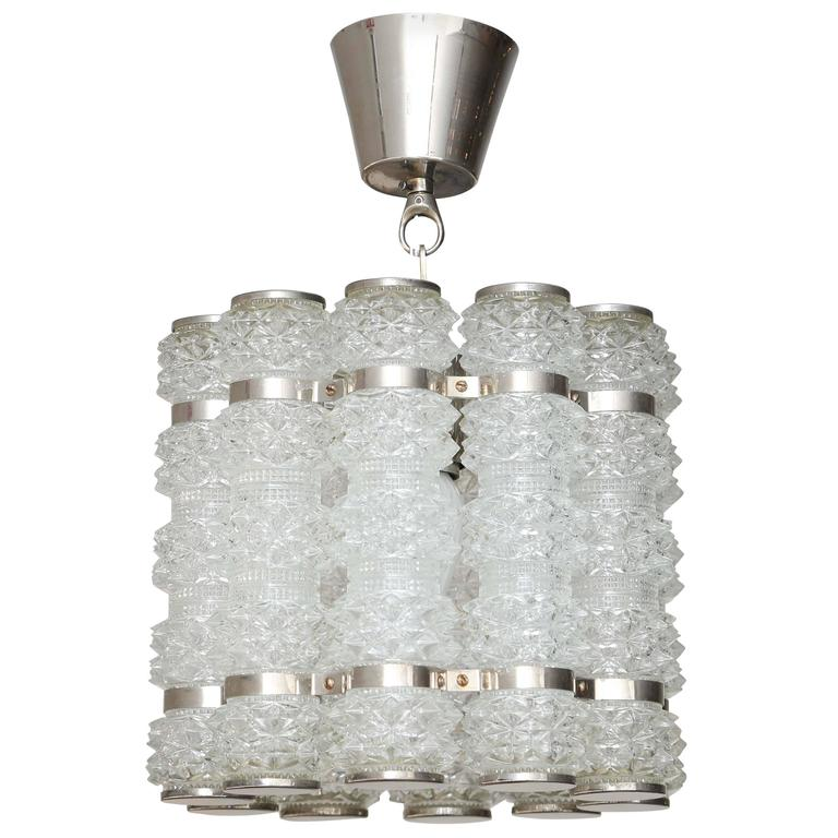 Orrefors Chrome and Crystal Pendant Fixture Mid-20th Century For Sale