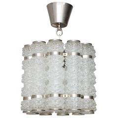 Orrefors Chrome and Crystal Pendant Fixture Mid-20th Century
