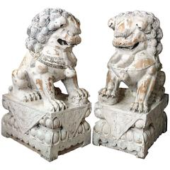 Pair of Carved Wood Painted Foo Dogs