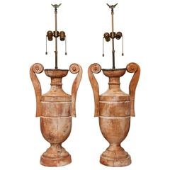 Pair of Large Carved Wood Urn Lamps