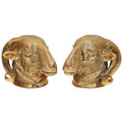 Dore Bronze Ram Head Bookends