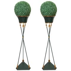 Pair of Neoclassical Tripod Tole Planters with Liners