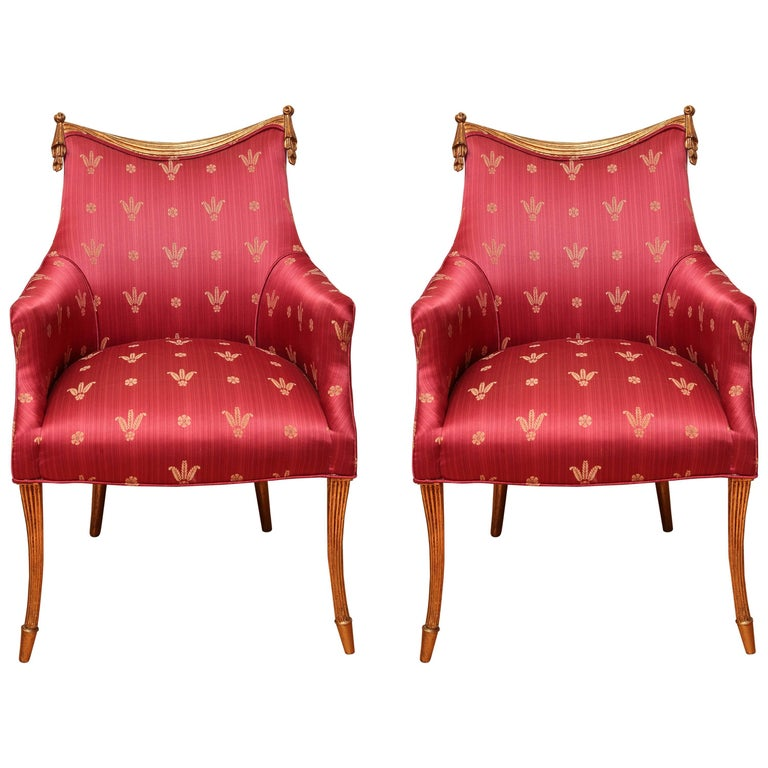 Pair of Hollywood Regency Armchairs For Sale