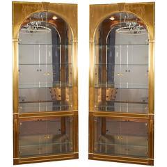 Pair of Mastercraft Palladian Style Vitrines in Brass