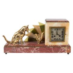 Art Deco Marble Mantel Clock with Cat and Dog