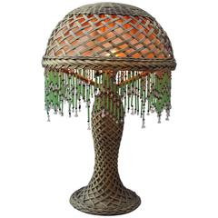 Early 20th Century Arts & Crafts Wicker Table Lamp