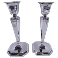 Pair of Tiffany Sterling Silver Modern Pillar Candlesticks