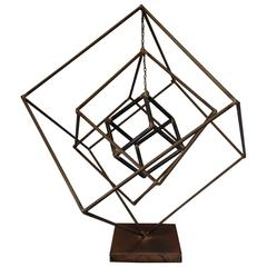 Brutalist Iron Cube Sculpture by Frank Cota
