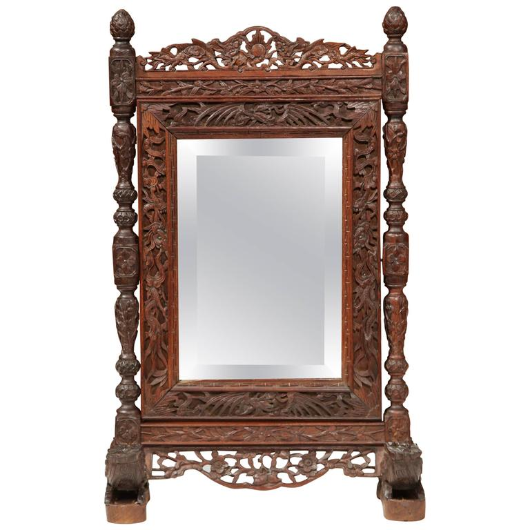 19th Century French Carved Black Forest Freestanding Mirror with Beveled Glass