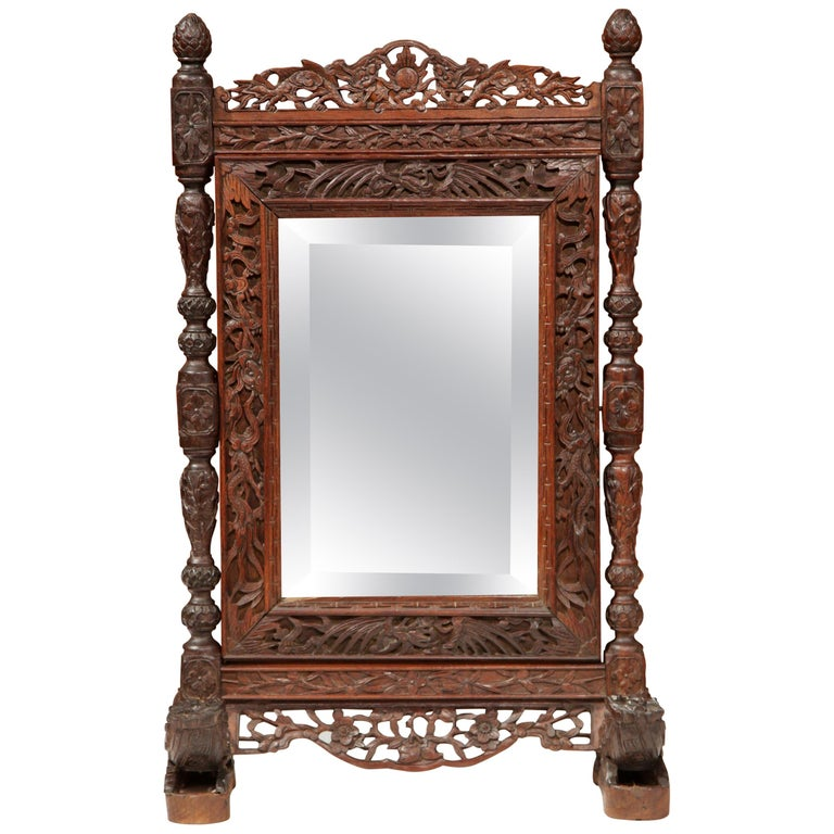 19th Century French Black Forest Carved Oak Freestanding Vanity Table Mirror For Sale