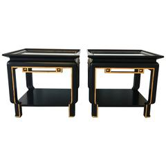 Ming Style Black and Gold Lacquered Two Tiered Side Tables, Pair