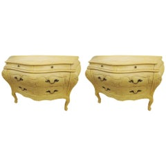 Pair of Louis XV Style Bombe Crackle Finish Commodes or Nightstands