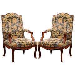 Large Pair of 18th Century French Carved Walnut Regence Armchairs with Velvet