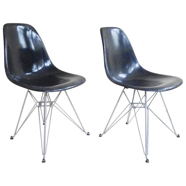 charles and ray eames dsr fiberglass side chairs eiffel tower for
