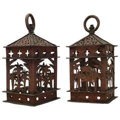 Pair of Vintage Hanging Copper Lanterns