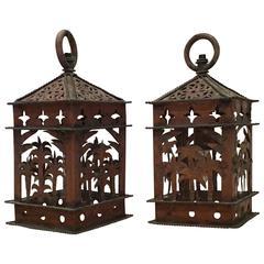 Pair of Funkey Hanging Copper Lanterns