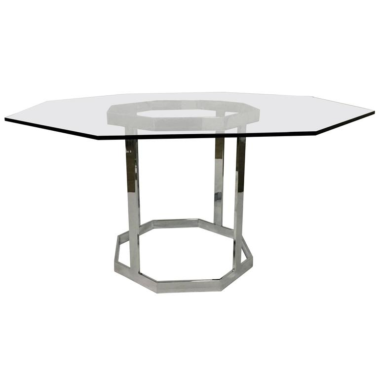 Milo Baughman Style Octagon Chrome And Glass Dining Table