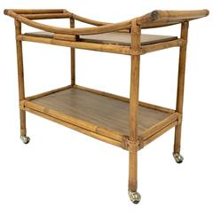 Mid-Century Ficks Reed Style Rattan Serving Cart