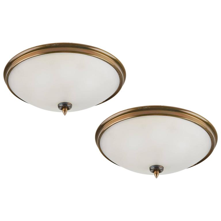 Pair of Brass and Glass Italian Flush Mount Ceiling Lights