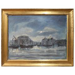 Oil Painting of Harbour Motif by Lis Bjergsted, 1929