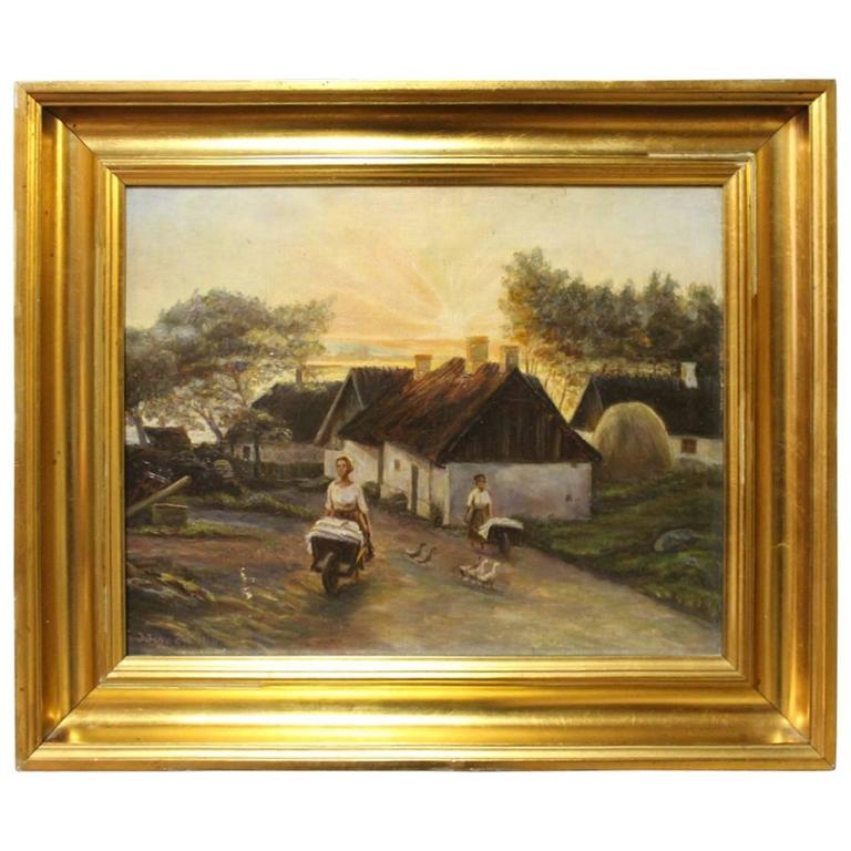 New Jersey Home Painting From J S Painting: Oil Painting By The Danish Painter J. Jensen, 1916 For