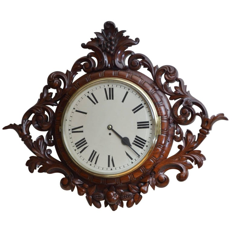 Exceptional Victorian Wall Clock, Large Mahogany Clock For Sale