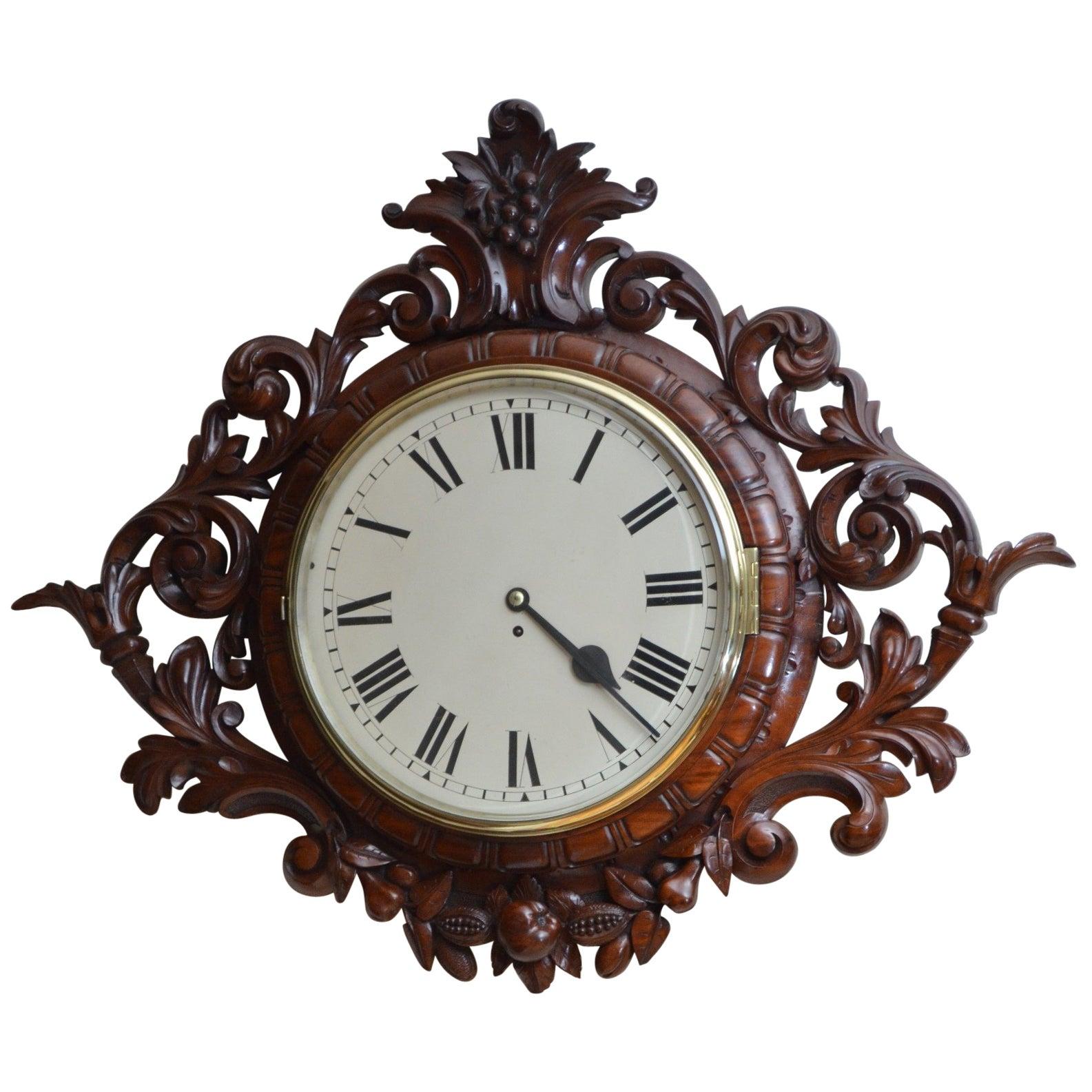 Exceptional Victorian Wall Clock, Large Mahogany Clock