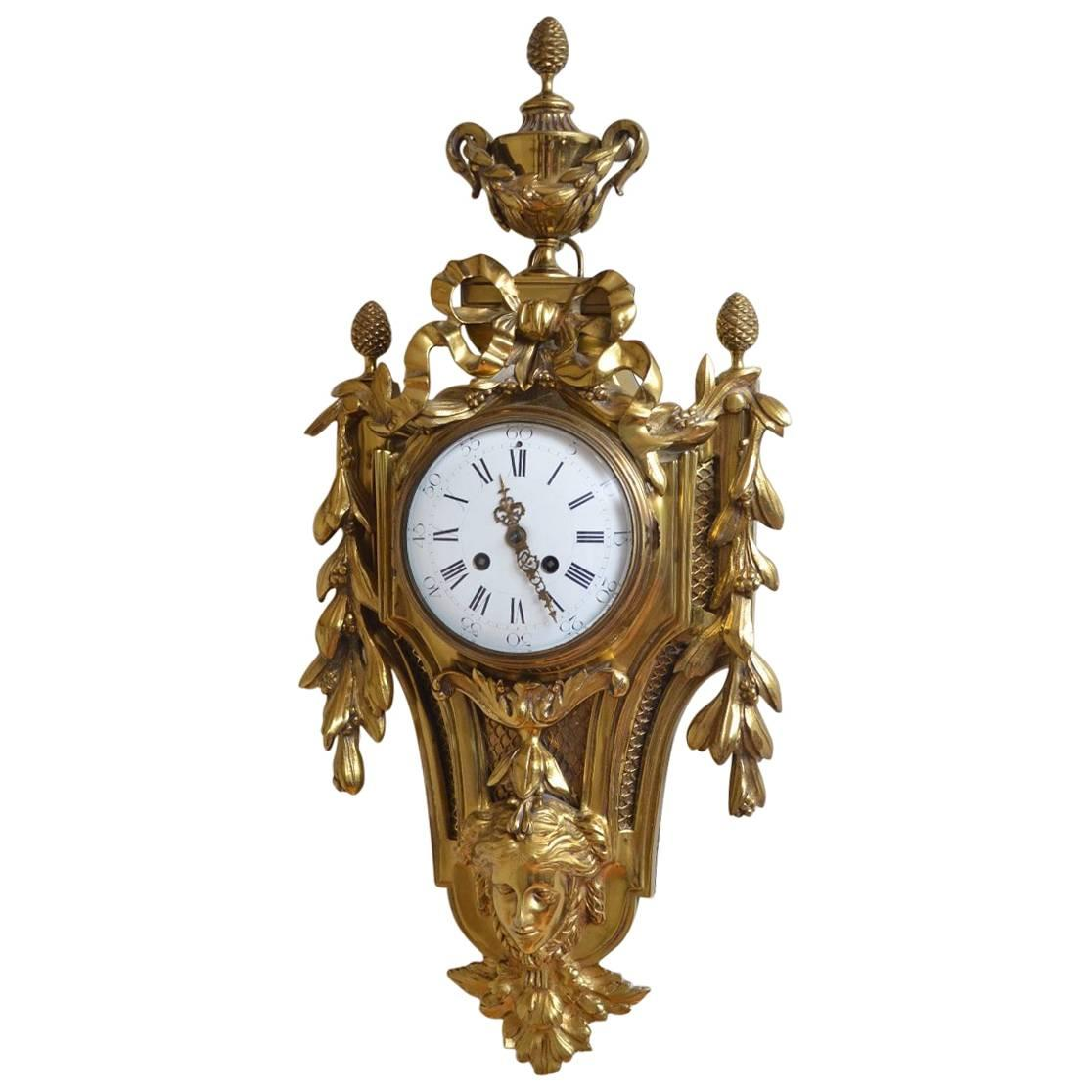 19th Century Gilt Metal Cartel Clock, Wall Clock