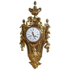 19th Century Gilt Metal Cartel Clock, Wall Clock
