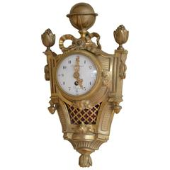 Unusually Small Gilt Metal Cartel Clock F Berthoud