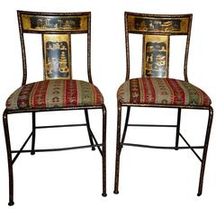 Pair of Victorian Painted Iron Chairs, Chinoiserie Decoration, Prov. M. Castaing