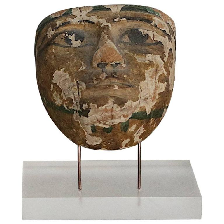 Ancient Mummy Mask in Carved Wood 1