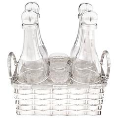 Silver-plated Art Deco Weaved Champagne Decanter Basket