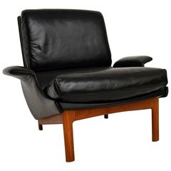 Danish Leather and Teak 'Eve' Armchair, Ib Kofod Larsen for Mogens Kold Vintage