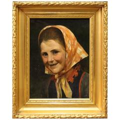 Antique Portrait Painting from the 1800 Hundreds, Signed J.B., 1890s