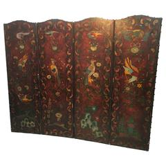 Fabulous Arts & Crafts Double-Sided Four Fold Painted Screen, circa 1900