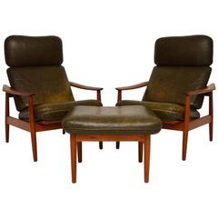 Pair of Danish Leather Reclining Armchairs & Stool by Arne Vodder Vintage, 1960s